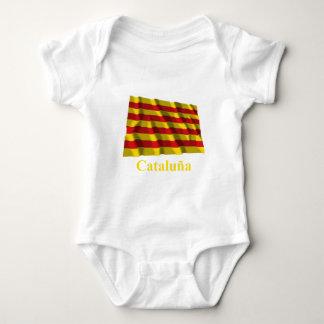 Cataluña waving flag with name baby bodysuit