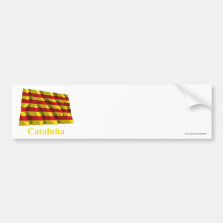 Cataluña waving flag with name bumper sticker