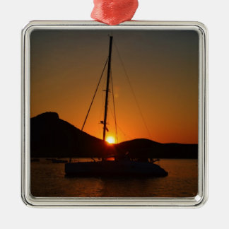 Catamaran at sunset Ibiza.JPG Christmas Ornament