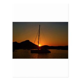 Catamaran at sunset Ibiza JPG Postcard