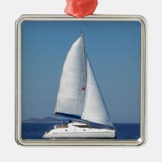 Catamaran Catchup Silver-Colored Square Decoration