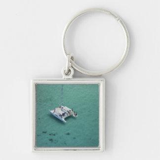 Catamaran, Mamanuca Islands, Fiji, South Pacific Silver-Colored Square Key Ring