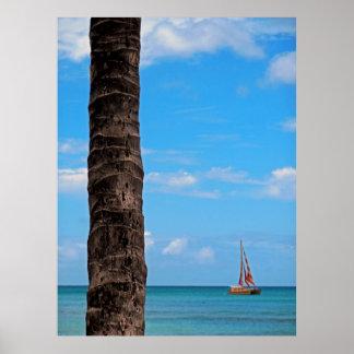 Catamaran off Waikiki Beach Poster