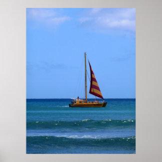 Catamaran off Waikiki Beach Print