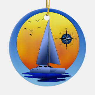 Catamaran Sailboat And Compass Rose Round Ceramic Decoration