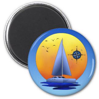 Catamaran Sailing 6 Cm Round Magnet