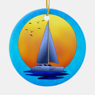 Catamaran Sailing Christmas Ornament