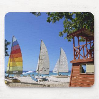 Catamarans And Lifeguard Stand On Beach Mouse Mat