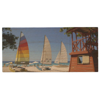 Catamarans And Lifeguard Stand On Beach Wood USB 2.0 Flash Drive