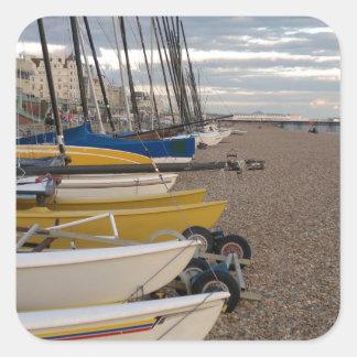 Catamarans On The Beach Square Sticker