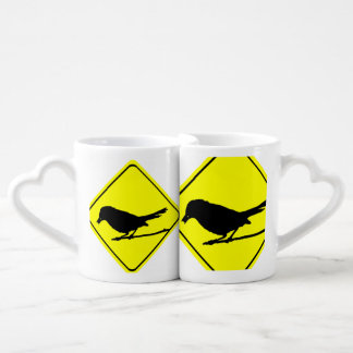 Catbird Bird Silhouette Caution or Crossing Sign Lovers Mugs