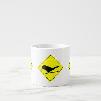 Catbird Bird Silhouette Caution or Crossing Sign Espresso Mugs