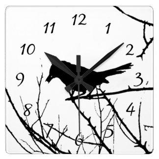 Catbird Silhouette Love Bird Watching Square Wall Clock