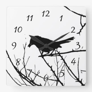 Catbird Silhouette Love Bird Watching Wallclocks