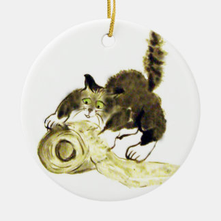 Catbotage - kitten and toilet paper, Sumi-e Christmas Ornament