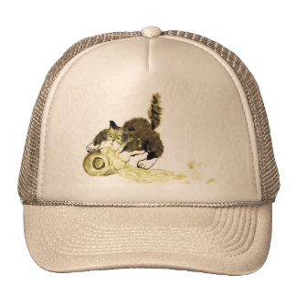 Catbotage - kitten and toilet paper Sumi-e Trucker Hat