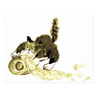 Catbotage - kitten and toilet paper, Sumi-e Postcard