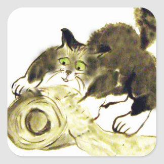 Catbotage - kitten and toilet paper, Sumi-e Square Sticker