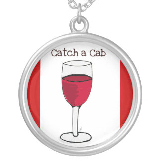 """""""CATCH A CAB"""" RED WINE PRINT ROUND PENDANT NECKLACE"""