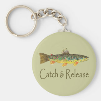 Catch and Release Fishing Basic Round Button Key Ring
