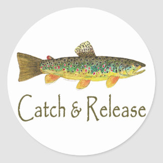 Catch and Release Fishing Classic Round Sticker