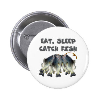 catch fish 6 cm round badge