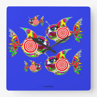 Catch Me If You Can Fish Square Wall Clock