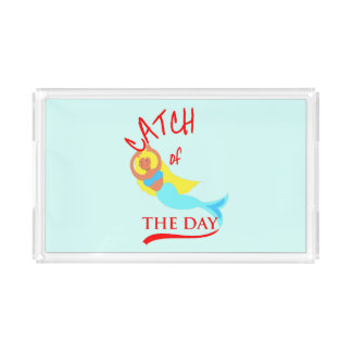 Catch of the day cute whimsy mermaid  theme cos me acrylic tray