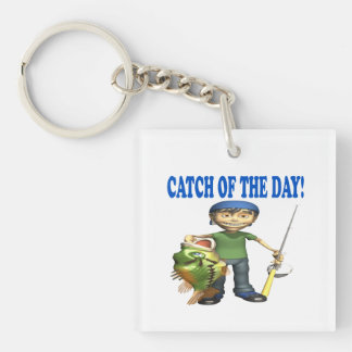 Catch Of The Day Single-Sided Square Acrylic Key Ring