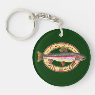 Catch & Release Fishing Double-Sided Round Acrylic Key Ring