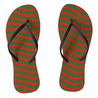 CATCH THE WAVE - CHRISTMAS STRIPES ~ ~ FLIP FLOPS