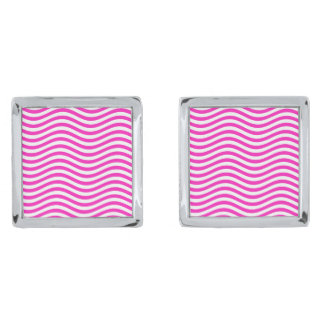 CATCH THE WAVE - NEON PINK ~~ SILVER FINISH CUFFLINKS
