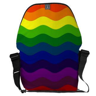 CATCH THE WAVE - RAINBOW STRIPES ~v.2~ Messenger Bags