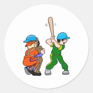 Catcher & Batter Round Sticker