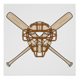 catchers mask and bats baseball icon poster
