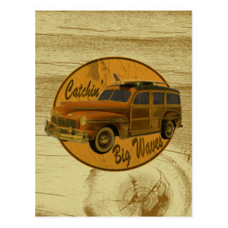 catchin' big waves in the woodie wood postcard