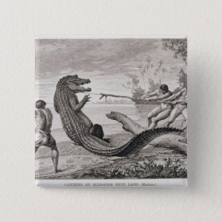 Catching an alligator with lasso 15 cm square badge