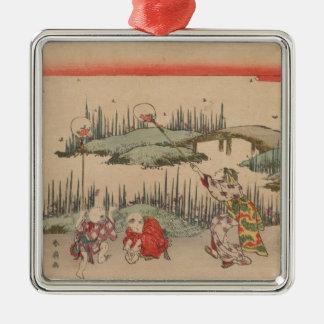 Catching Fireflies (colour woodcut) Christmas Ornament