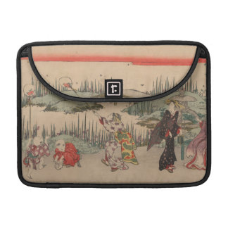 Catching Fireflies (colour woodcut) MacBook Pro Sleeves