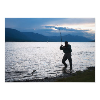Catching Fish at Sunrise 13 Cm X 18 Cm Invitation Card