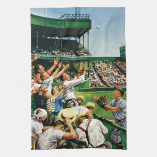 Catching Home Run Ball Tea Towel