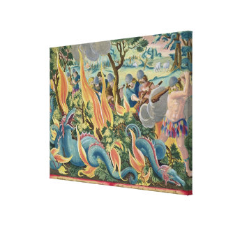 Catching Serpents in India Using Clubs and Torches Gallery Wrap Canvas