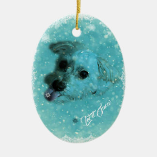 Catching Snowflakes Holiday Ornament, Oval Christmas Ornament