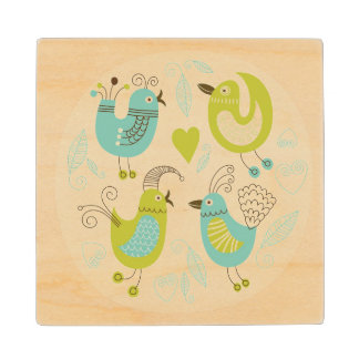 cate cartoon birds wood coaster