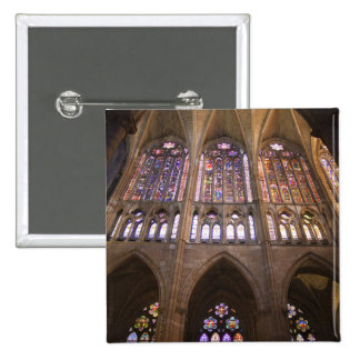 Catedral de Leon, interior stained glass windows 2 15 Cm Square Badge