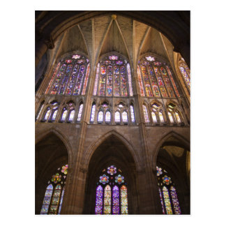 Catedral de Leon, interior stained glass windows 2 Postcard