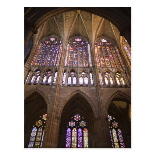 Catedral de Leon, interior stained glass windows 2 Postcards