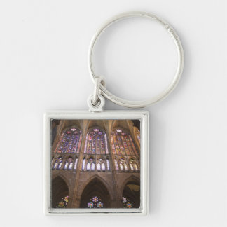 Catedral de Leon, interior stained glass windows 2 Silver-Colored Square Key Ring