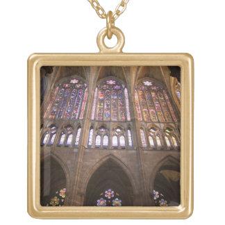 Catedral de Leon, interior stained glass windows 2 Square Pendant Necklace