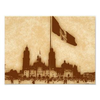 Catedral en el Zocalo del DF con la Bandera 11 Photo Print